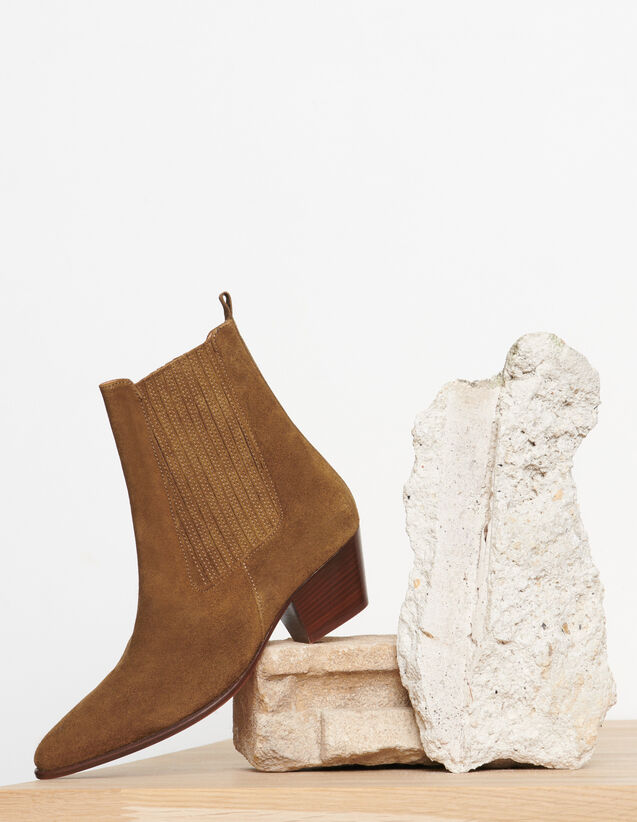 Leather Ankle Boots With Elastic : Shoes color 琥珀色/AMBER