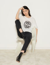 T-Shirt With Contrasting Printed Text : T-shirts color white