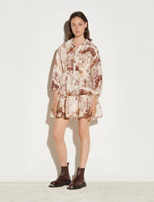 Printed Shirt Dress : Dresses color Ecru / Brown