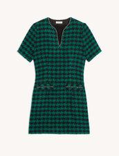 Short Tweed Dress With Braid Trim : Dresses color Green / Black
