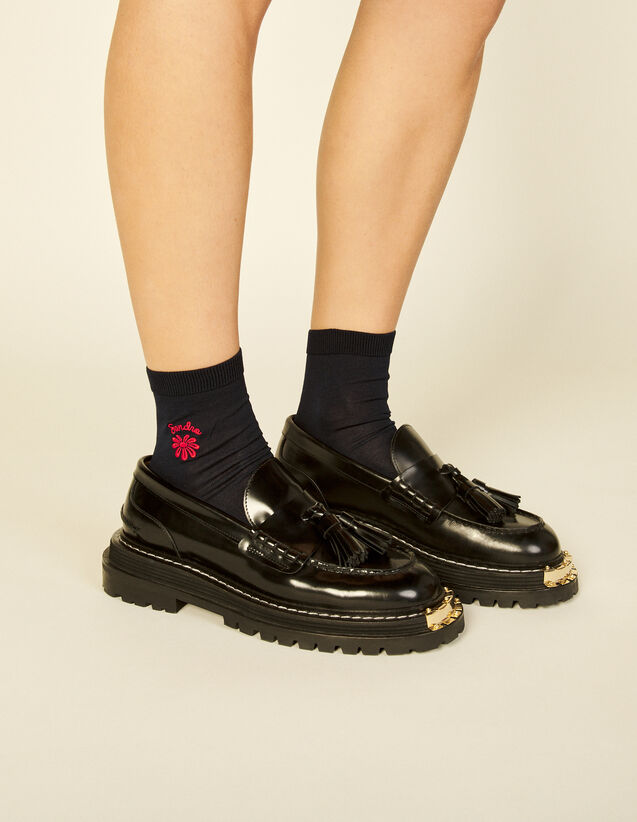 Embroidered Socks : Socks color Ecru