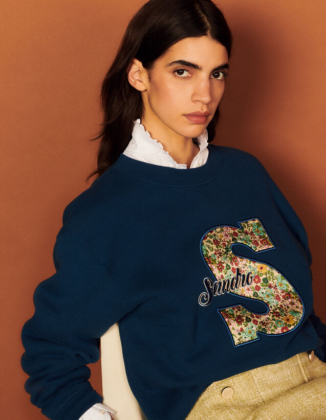 Embroidered Sweatshirt : Tops color Blue