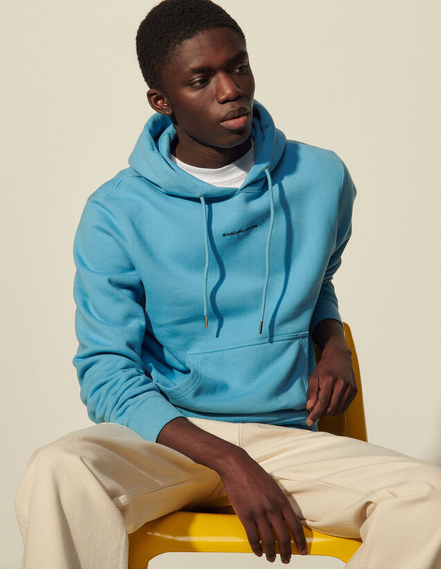 Hoodie Sweatshirt With Logo Embroidery : 30%off color white