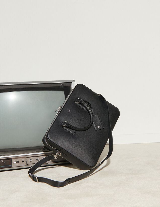 Saffiano Leather Briefcase : Leather Goods color Black