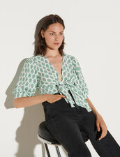 Printed Cropped Top With Tie Fastening : Tops color Green
