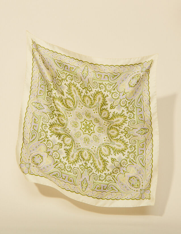 Printed Silk Scarf : Other accessories color Ecru / Pastel lilac