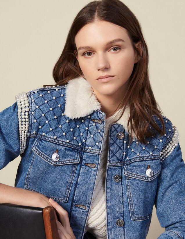 Denim Jacket Finished With Beads : Blazer & Jacket color Blue Jean