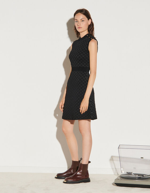 Sleeveless Quilted Dress : null color Black