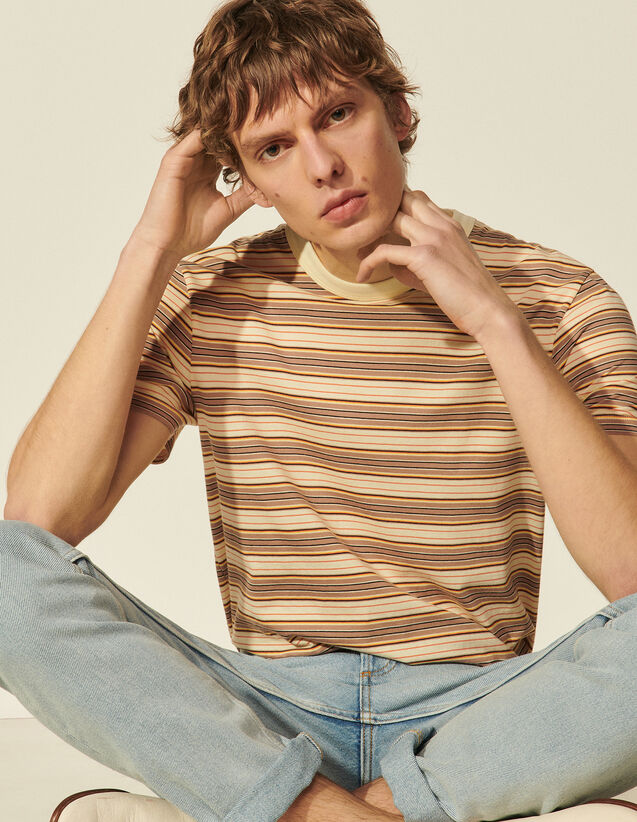 Organic Cotton Stripy T-Shirt : T-shirts & Polo shirts color Ecru