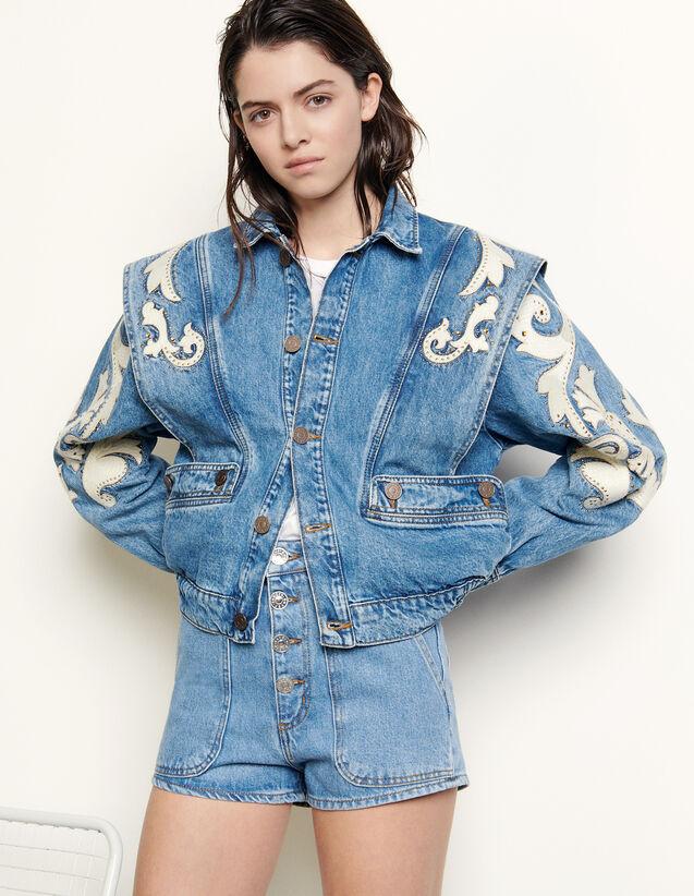Denim Jacket With Patches & Rhinestones : Blazer & Jacket color Blue Jean