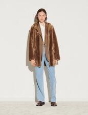 Hooded Sheepskin Coat : Coats color Camel