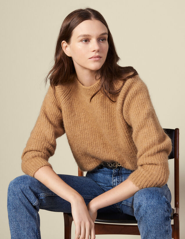 Round Neck Sweater With Raglan Sleeves : Sweaters & Cardigans color Camel