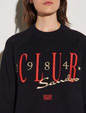 Sweatshirt-Style Sweater With Embroidery : Sweaters & Cardigans color Navy Blue