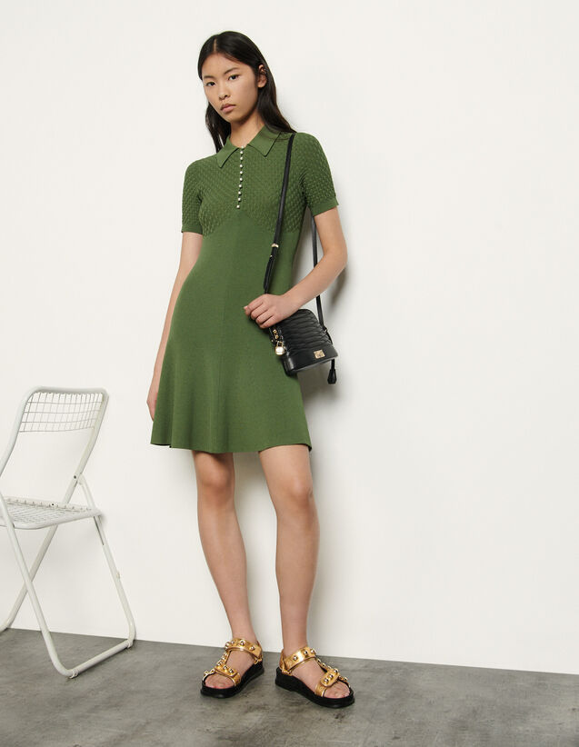 Polo-Style Knitted Dress : Dresses color Olive Green