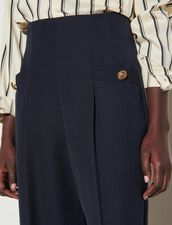 Wide-Leg Trousers : Pants color Navy Blue