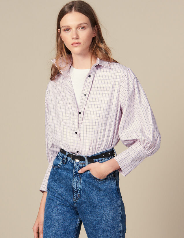Mini Check Poplin Shirt : Shirts color Pink