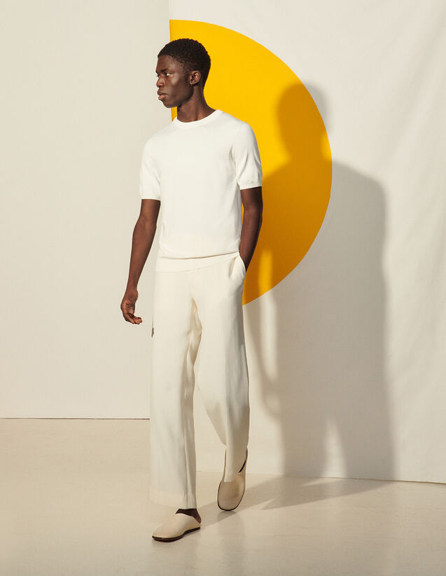 Knitted T-Shirt : T-shirts & Polo shirts color white