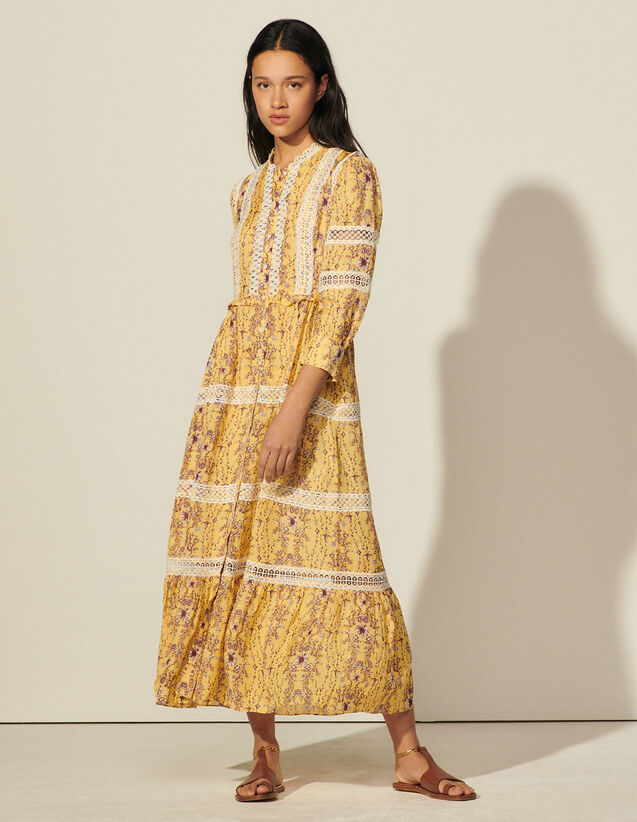 Long Printed Dress With Braid Trim : Dresses color Yellow