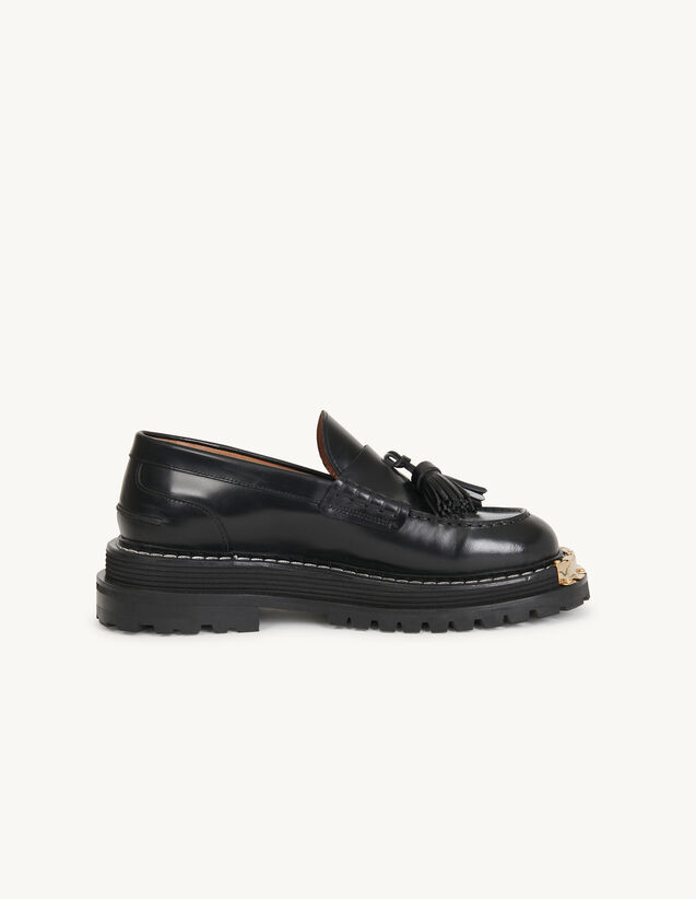 Thick-Soled Leather Loafers : Shoes color Black