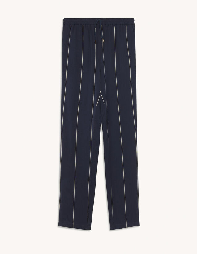Stripy Trousers With Elasticated Waist : Pants & Shorts color Navy Blue