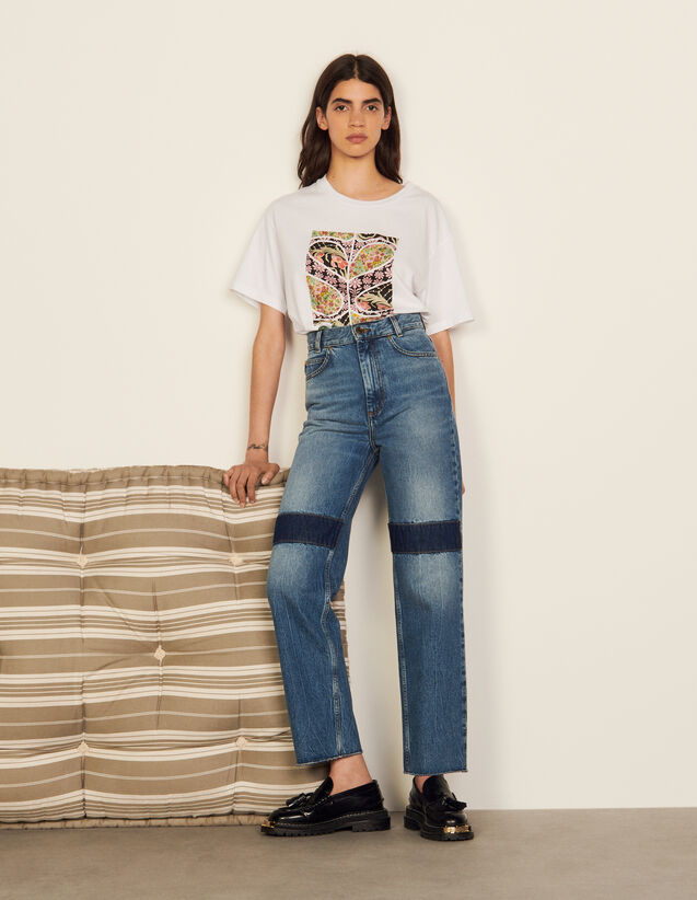 Jeans With Knee Patches : Jeans color Blue Jean