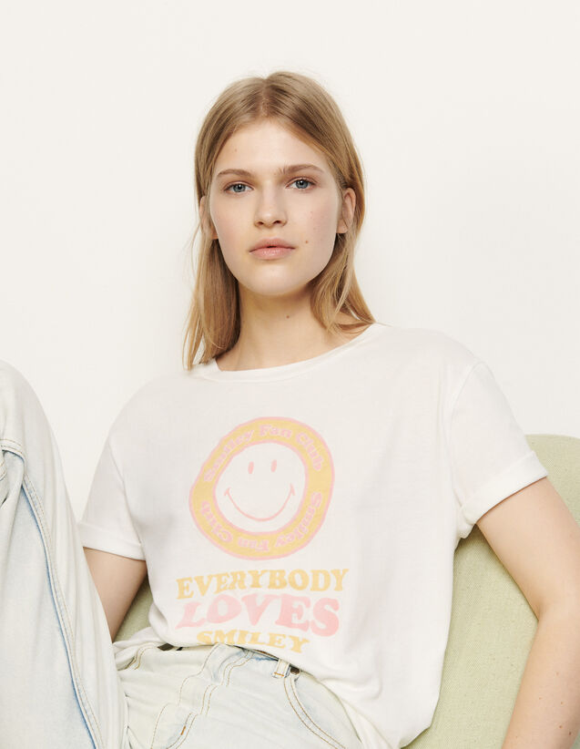 T-Shirt With Flocked Motif : T-shirts color White / Yellow