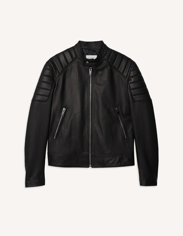 Leather Jacket With Quilted Trims : Trench coats & Coats color Black