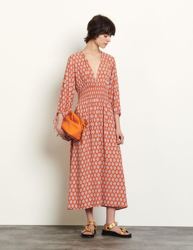 Long Dress In Printed Jacquard : Dresses color Rust