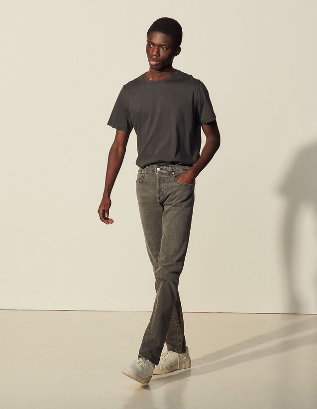 Washed Grey Jeans : Jeans color Grey