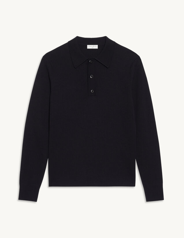 Sweater With Polo Collar : Sweaters & Cardigans color Navy Blue