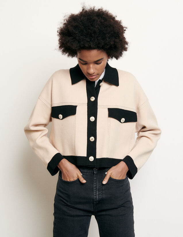 Cropped Cardigan With Topstitching : Sweaters & Cardigans color Nude