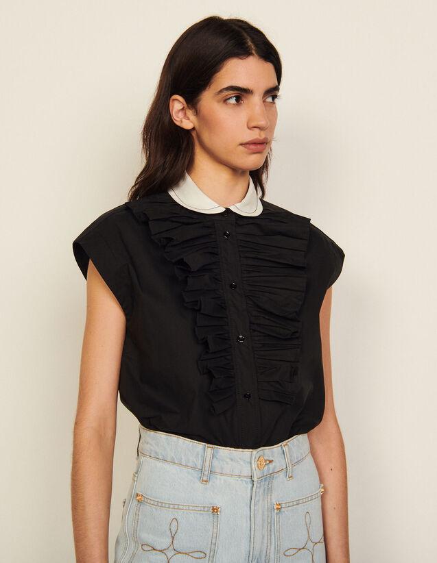 Organic Cotton Sleeveless Shirt : Shirts color Black