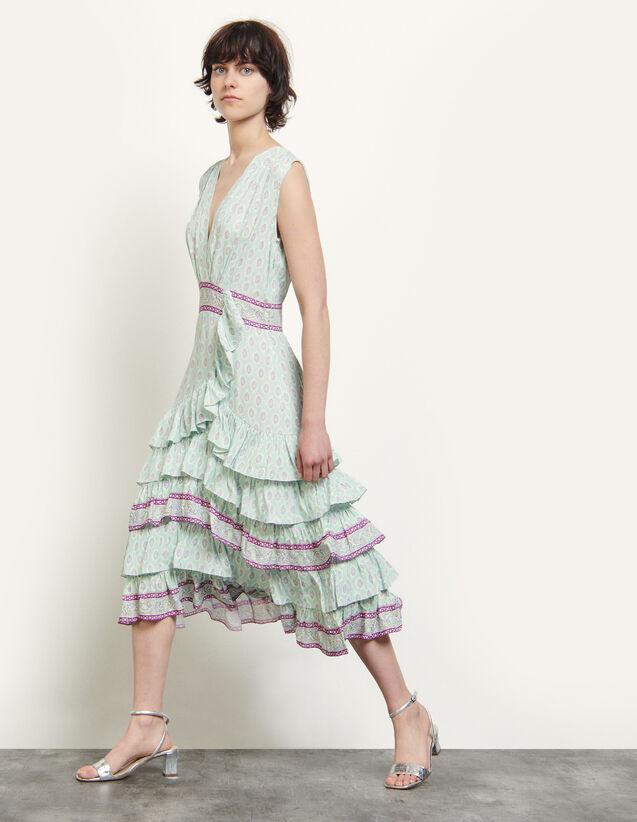 Long Printed Ruffled Dress : Dresses color Mint