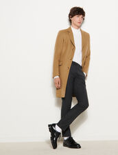Long Coat Fastened With Three Buttons : Trench coats & Coats color Beige
