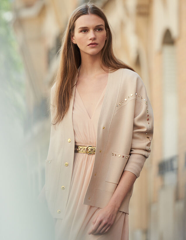 Cardi-Coat Trimmed With Studs : Coats color Nude