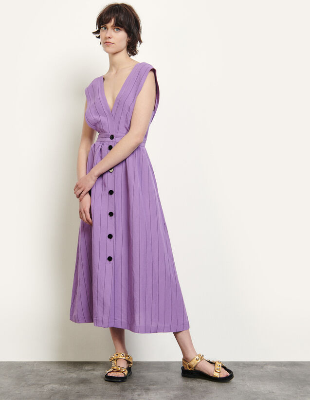 Long Sleeveless Dress With Stripes : Dresses color Purple