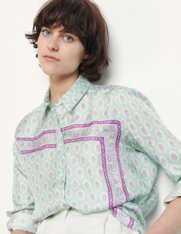 Printed Silk Shirt : Shirts color Mint
