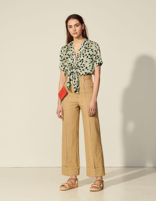 Wide-Leg Linen And Cotton Trousers : Pants color Camel