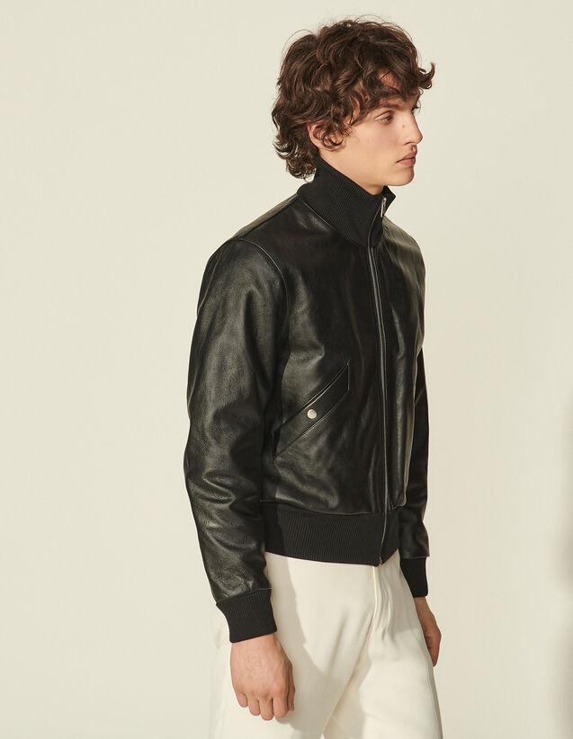 Leather Bomber : Coats & Jackets color Black