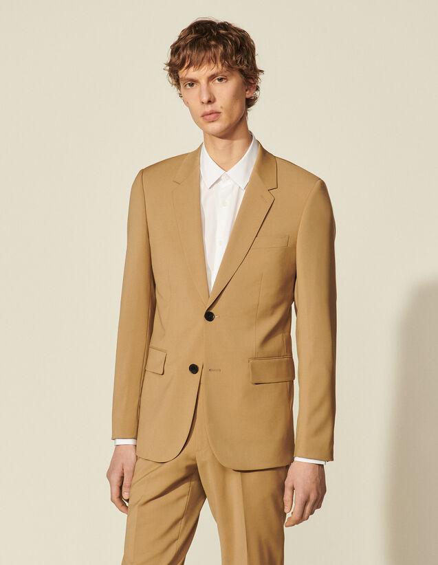 Virgin Wool Suit Jacket : Suits & Tuxedos color Ficelle