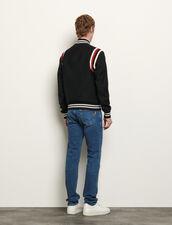 Tricolour Ribbed Varsity Jacket : Trench coats & Coats color Navy Blue