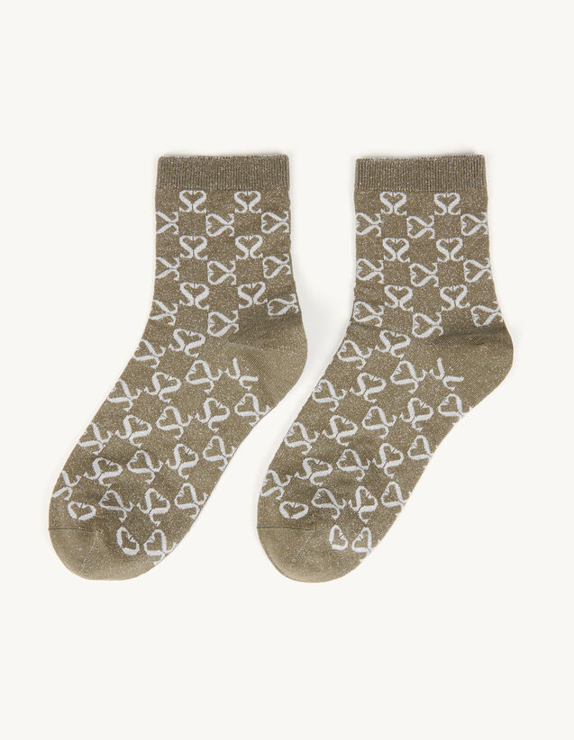 Jacquard Socks With Double S In Lurex : Socks color Beige