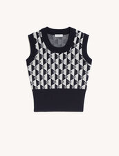 Sleeveless Sweater : Sweaters & Cardigans color Navy / Ecru