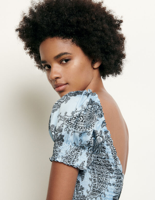 Cropped Smocked Top With Print : Tops color Blue