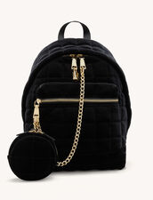 Quilted Velvet Backpack : All Bags color Black