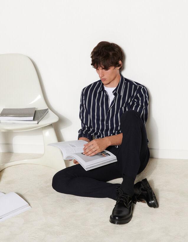 Striped Viscose Shirt : Shirts color Ecru