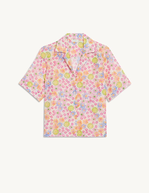 Printed Flowing Shirt : View All color Pink