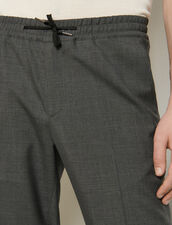 Wool Trousers With Elasticated Waist : Pants & Shorts color Charcoal Grey