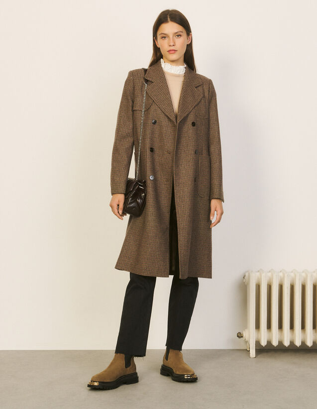 Long Checked Coat : Coats color Burgundy red/Black