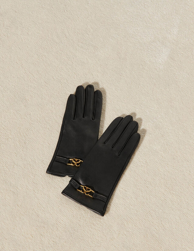 Leather Gloves With Gold Detail : -50% color Black